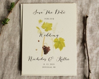 Vineyard Save The Date Grape Vine Winery Save The Date Wedding