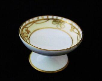 Nippon Salt Dip or Salt Cellar, Porcelain, Pedestal Dip, Hand Painted Gold Trimmed,