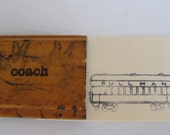 vintage wooden image stamp - coach - Pullman coach - railroad - old school stamp - rubber stamp - ink pad - art - print - collectible