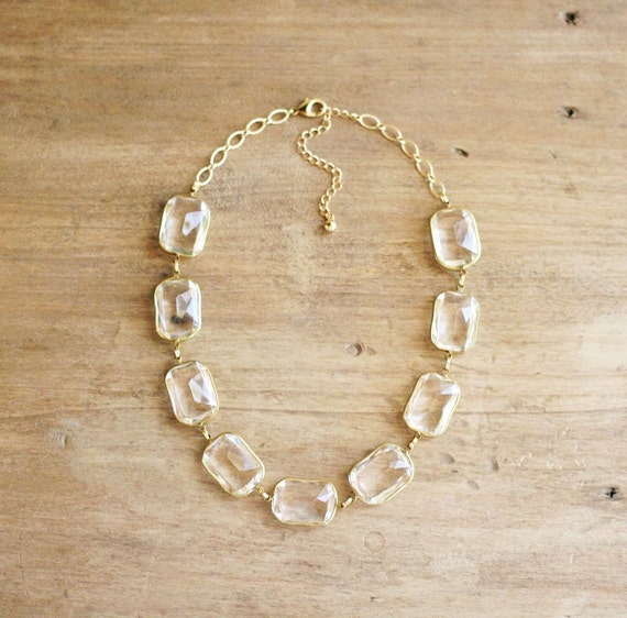 Clear Lucite Statement Necklace, Clear Jewel Statement Necklace, Vintage Inspired Necklace, Something Old Bridal Necklace