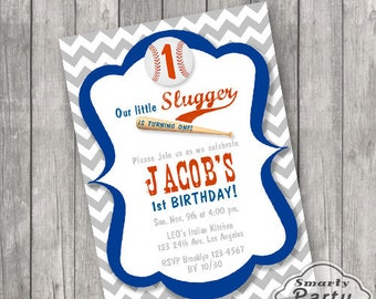 Baseball 1st Birthday Invitations Invite Lil Slugger Printable Personalized One Chevron Customized 5x7 or 4x6