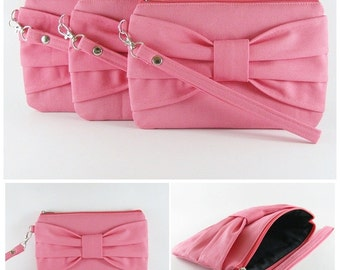 SUPER SALE - Set of 6 Coral Pink Bow Clutches - Bridal Clutches, Bridesmaid Clutches, Wedding Gift, Zipper Pouch - Made To Order