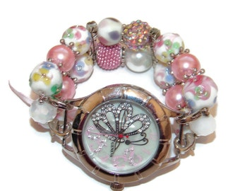 Butterflies and Flowers Chunky Beaded Watch - Interchangeable Spring Watch - BeadsnTime - Unique Gift - Spring Bracelet Watch - Gift for Her