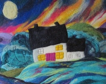 felt painting, wool picture, large felt picture on canvas of a cosy cottage. 20 x16 inches
