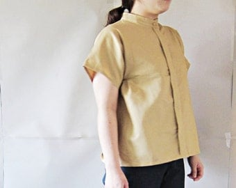 Light Brown linen b;ouse /oversize / casual/ Japanese style / party dress / women / linen / top