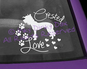 Chinese Crested Love Vinyl Decal