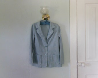70s/80s Light Blue Plaid Jacket