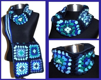 crochet granny square * ScarF * - blue LooP -