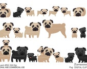 Pug Digital clip art for Personal and Commercial use - INSTANT DOWNLOAD
