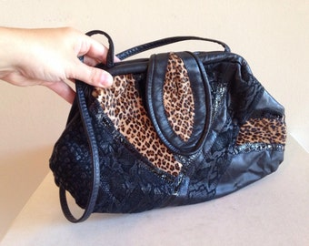 Crazy 80s Vintage Black Patchwork and Leopard Purse Dark Boho Festival