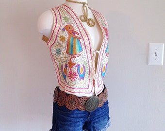 Beautiful Indian Hippie Vest Embroidered Pastel Colors