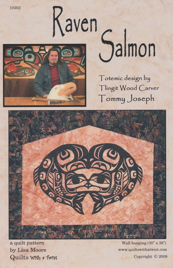 Raven salmon quilt pattern by lisa moore totemic tlingit wood