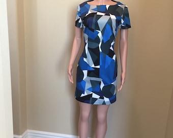 Geometric Print Blue and White Sheath Dress