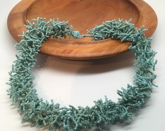 Blue teal sea green seed beed necklace coral -like ocean sea colors