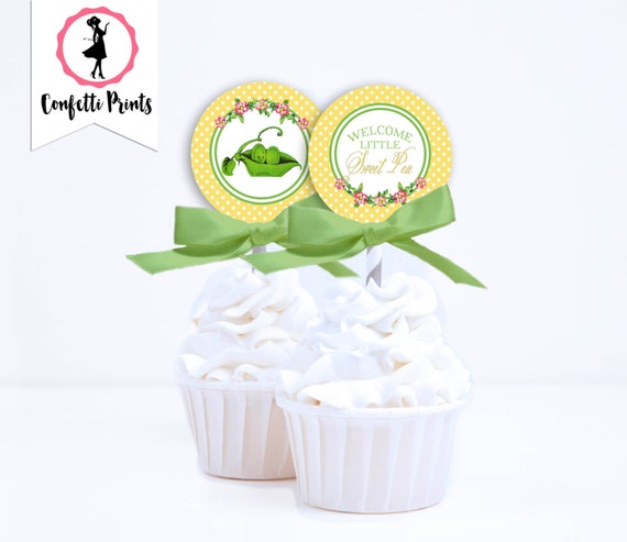 Peas In A Pod | Two Peas In A Pod | Twin Baby Shower | Twins Baby Shower | Shabby Chic | Vintage Baby Shower Cupcake Toppers - SWEET PEA