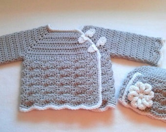 Crocheted Baby Girl's Sweater Set Gray and White Baby Sweater and Hat Set Gray Baby Girl's  Sweater and Hat Gray Baby Hat Baby Sweater Set