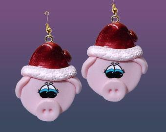 Santa Pig Earrings