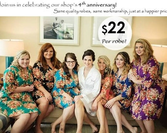 Floral Robes for the Bride and Bridesmaids/ Set of 2/ Set of 3/ Set of 4/ Set of 5/ Set of 6/ Set of 7/ Set of 8/ Set of 9/ Set of 10