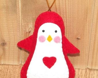 Handmade Christmas Hanging Penguin Soft Toy