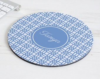 Weave Print Mouse Mat – personalised mouse pad – round mousepad – desk decor - personalized graduation gift - coworker gift - p14
