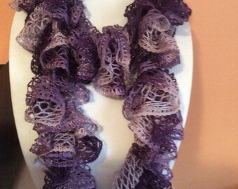 Exotic and elegant Ruffle scarf, crochet handmade.