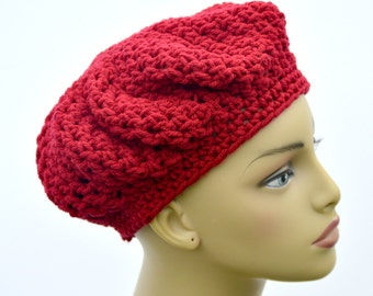 Crochet Cranberry adult beret  , Teens handmade hat , Winter Fall accessory , Handmade beret , Gift for her