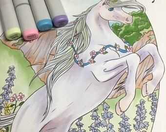 Unicorn Garden digital coloring page  March2016