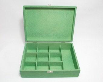 10 Compartments Wooden Tea Box / Green Box / Wooden Keepsake Box / Jewelry Box / Collection Box / Personalized Box Option