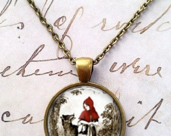 Little Red Riding Hood Necklace, Fairy Tales, Once Upon a Time T145