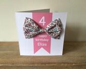 Custom item for Paula - personalised birthday card with hair bow