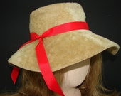 Vintage Tan Faux Fur Wide Brim Hat by Torino, Made in Italy, Brown Floppy Hat with Removeable Red Ribbon, Hippie Hat