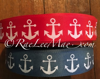 """Red or blue anchors nautical ribbon 1"""" 25mm/ anchor ribbon/red or navy nautical hair bow ribbon/nautical theme baby shower/anchors ribbon"""