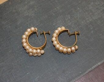 vintage, earrings, costume, pearl, hoops, screw back, non-pierced