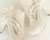 Wedding Shoes - Something Blue Bridal Shoes- Embroidered Ivory Lace Booties with Rhinestones