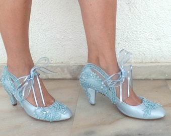 Wedding Shoes -Baby Blue Embroidered Lace Bridal Shoes