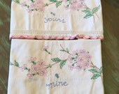 Embroidered Pillowcases Cotton / 2 Vintage White & Pink Cottage Chic Bedroom Decor Linens