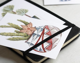 potted succulent and cactus plant art postcard prints - set of four