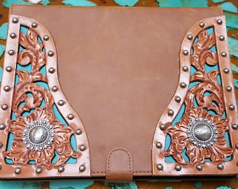 Tuscan Tan Leather iPad Cover with hand tooled filigreed corners and sterling plated conchos