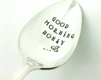 Good Morning Honey Stamped Spoon, Gift for Wife, Gift for Girlfriend, Gift for Daughter, Gift for Husband