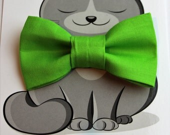 Green Bow Tie for Cat, Dog Bow Tie, Kitty Bowtie, Collar Accessory, Cat Costume, Pet Fashion, Summer, Gift for Cat, Gift for Dog, Slides On
