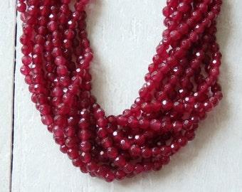 "4mm faceted dyed white jade beads - 15"" strand, garnet coloured jade beads, 4mm faceted round jade beads in dark berry pink, gemstone strand"