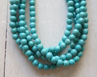 8mm Turquoise howlite beads - strand of dyed howlite beads, 8mm turquoise beads, turquoise howlite strand, Boho jewelry supplies, turquoise