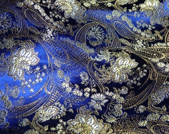 Chinese brocade fabric in midnight BLUE with a floral pattern in gold and silver - 1 yard of deep blue brocade with silver and gold, 1 yd.