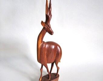 vintage carved wood standing gazelle