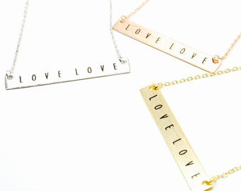 """Tiny Gold Bar """"LOVE LOVE"""" Necklace - Dainty, Simple, Birthday Gift, Wedding Bridesmaid Gift"""