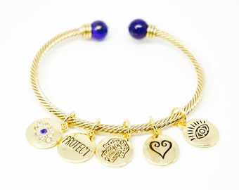 "Gold or Silver ""Hamsa Protection"" Charm Bracelet"