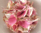 Shabby Chic Pink Brocade Fabric Flower Hair Clip