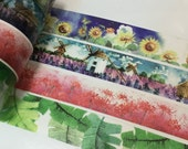 1 Roll of Watercolor Washi Tape (Pick 1) : Sunflower Field, Lavender Field, Spider Lily, or Green Leaves