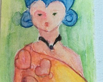 Original ACEO Watercolor Painting: Full of Hearts