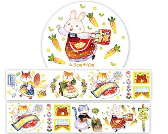 1 Roll of Limited Edition Washi Tape: Kitty's and Bunny's Warm Home